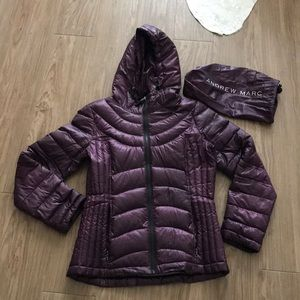 Andrew Marc purple packable down jacket size S